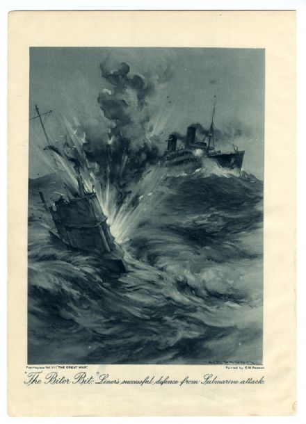 1916 Great War Print OCEAN LINER ATTACKED BY SUBMARINE by Charles Murray Padday